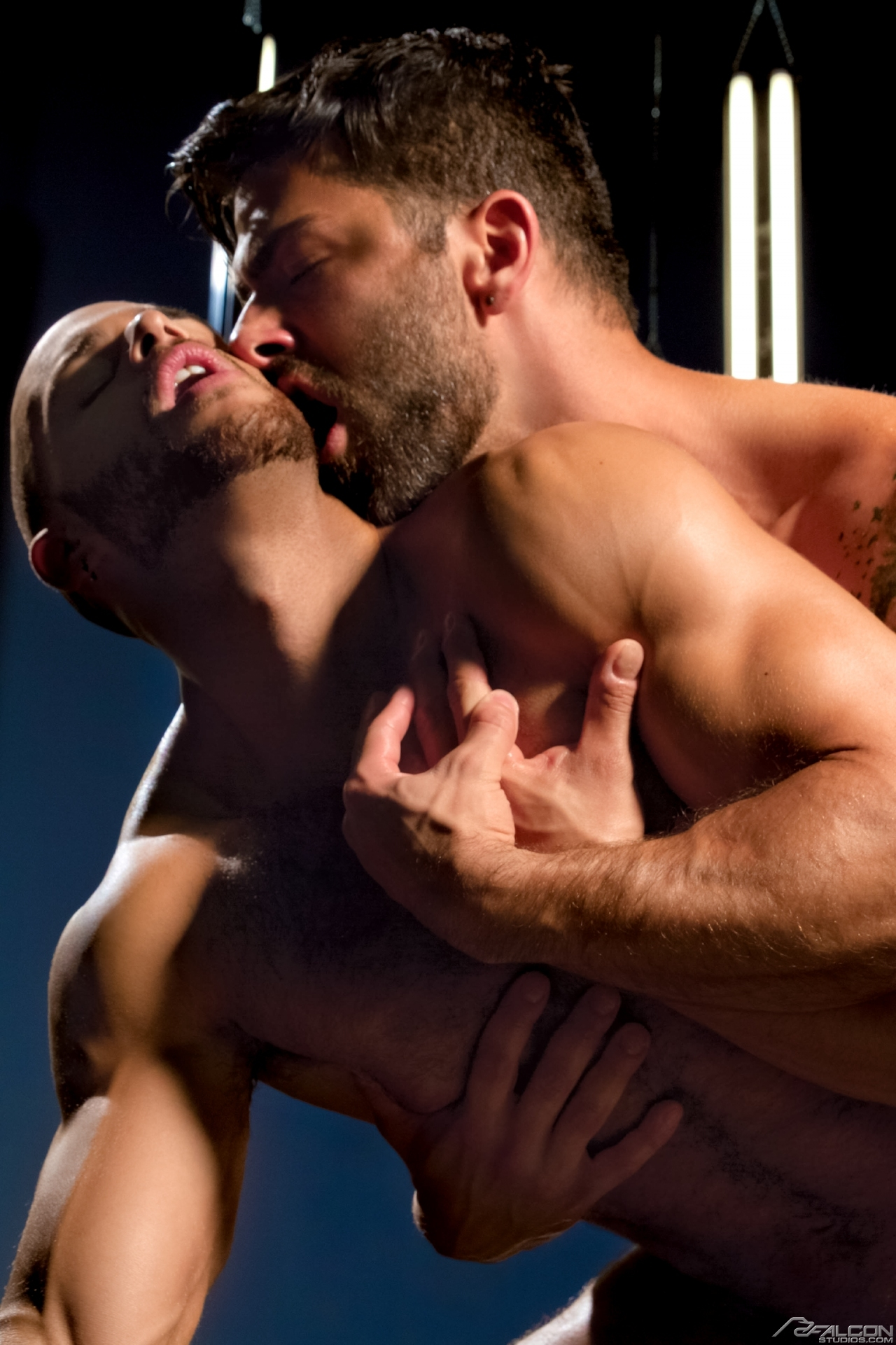Sean Zevran and Adam Ramzi flip-fuck for the gay porn film Stunners from the Falcon Edge branch of Falcon Studios.