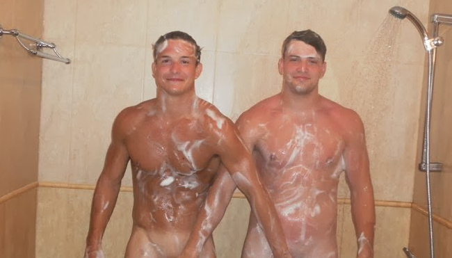 Have Nude buddies in shower