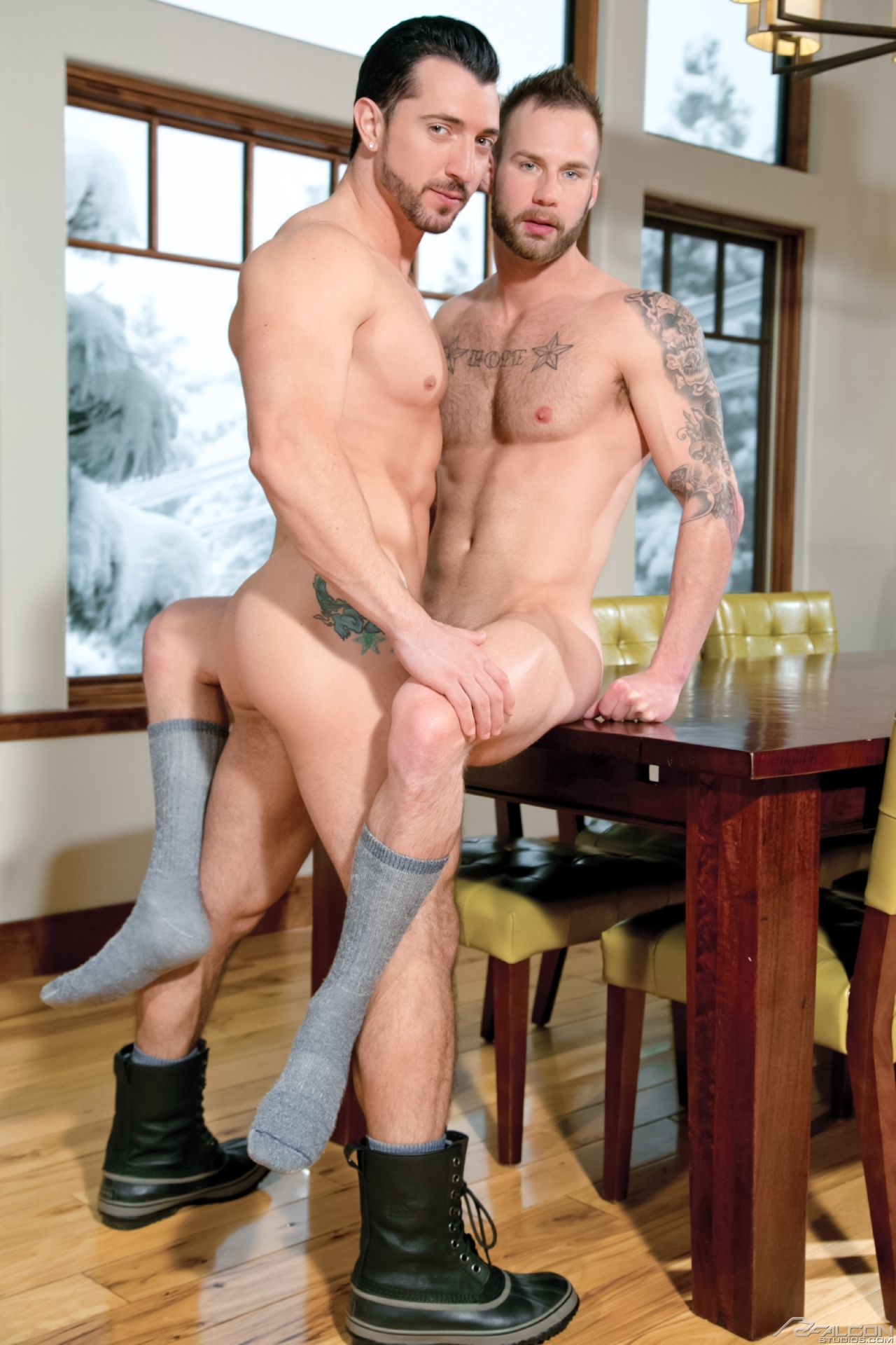 Chris Bines bottoms for Jimmy Durano in a scene from the gay porn film Alpine Wood by Falcon Studios.