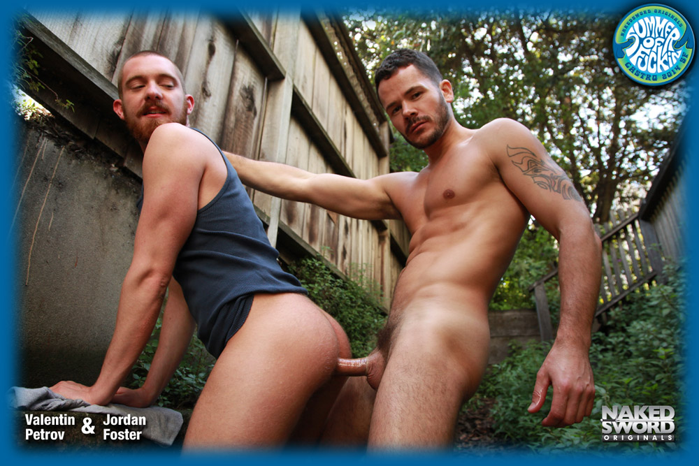 Jordan Foster bottoms for Valentin Petrov in Summer of Fucking by gay porn site Naked Sword.