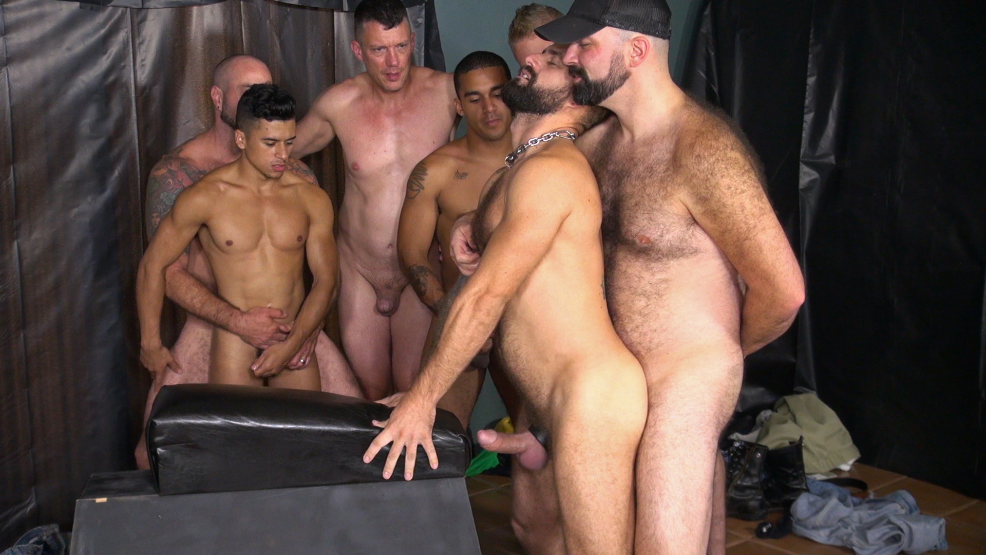 group hairy fuck - Jon Shield bottoms for Boy Fillups in a bareback watersports group scene  with Sam Dixon,