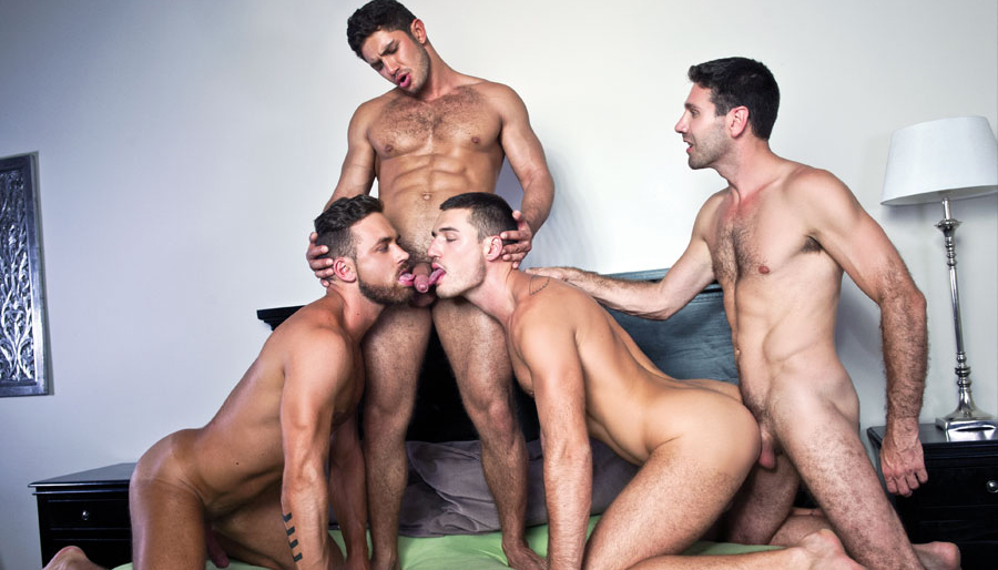 Bareback group sex