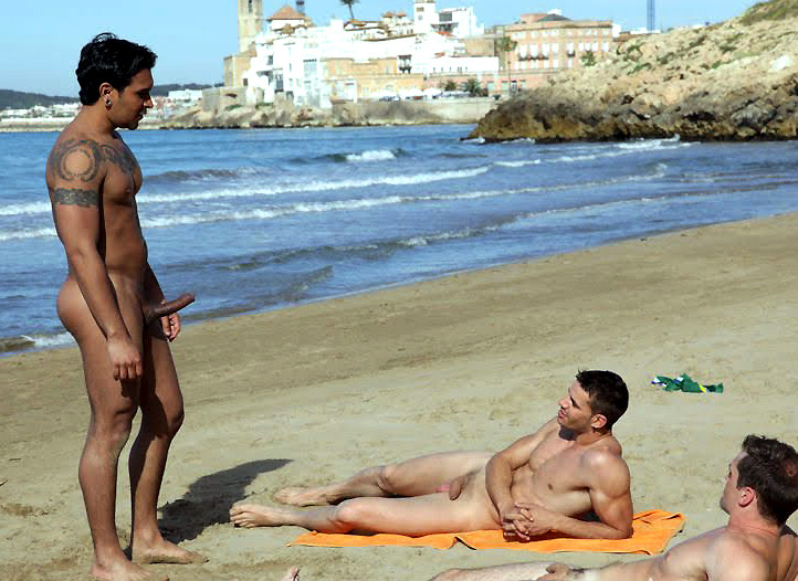 Hot naked gay men on the beach
