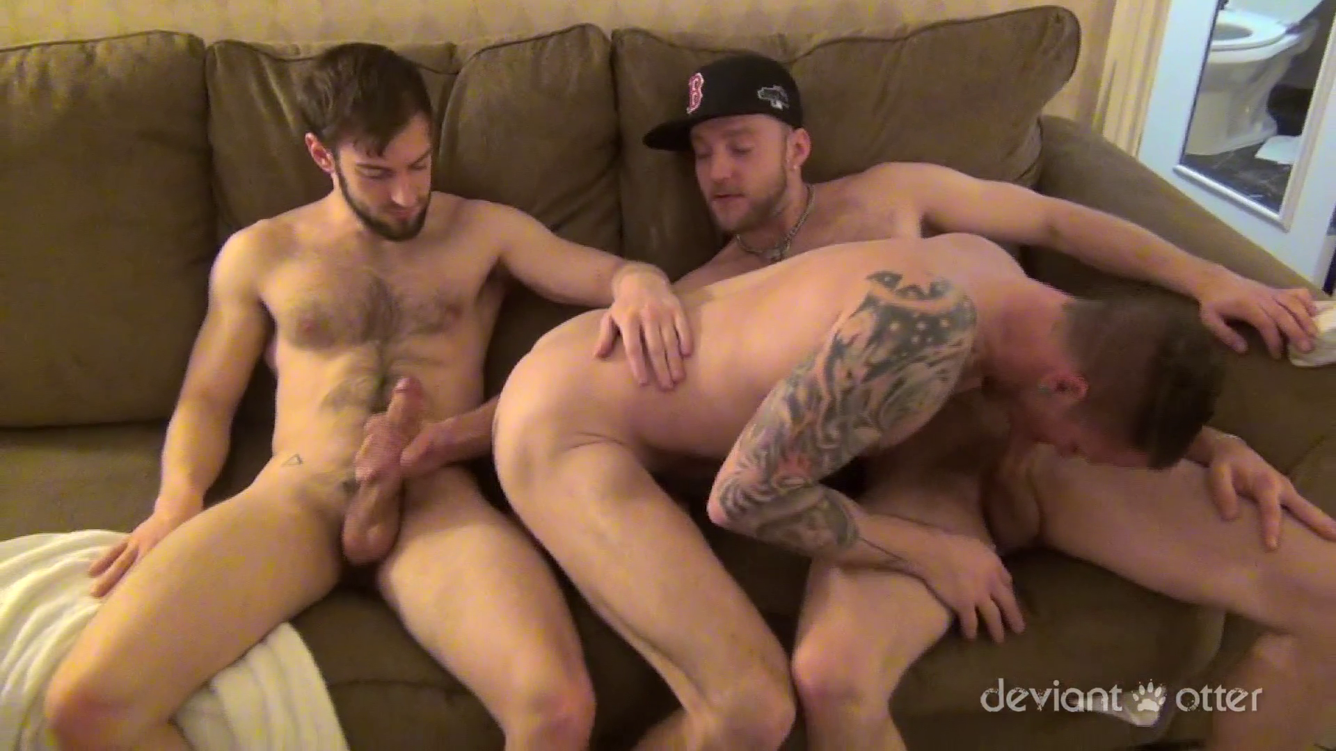 Hot gay guys threeway ass penetration